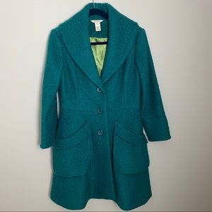 Sundance catalog Teal Vintage Chic Boucle Coat